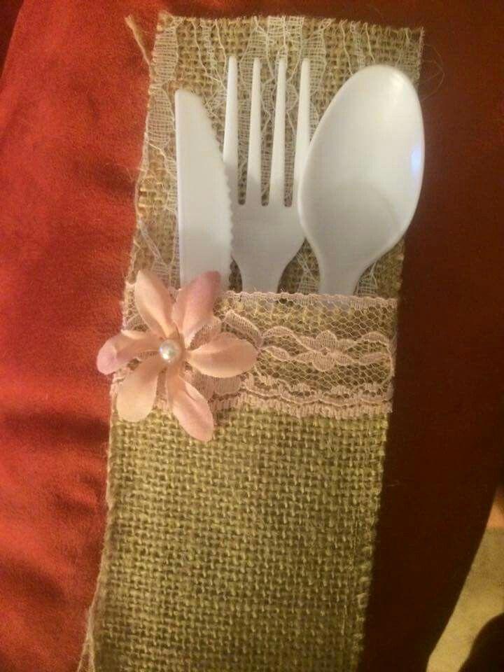 rustic wedding burlap silverware holder
