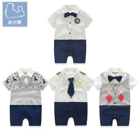7c2ff6019 YiErYing Baby Rompers Short sleeve Bow Tie Gentleman For Baby Boys ...