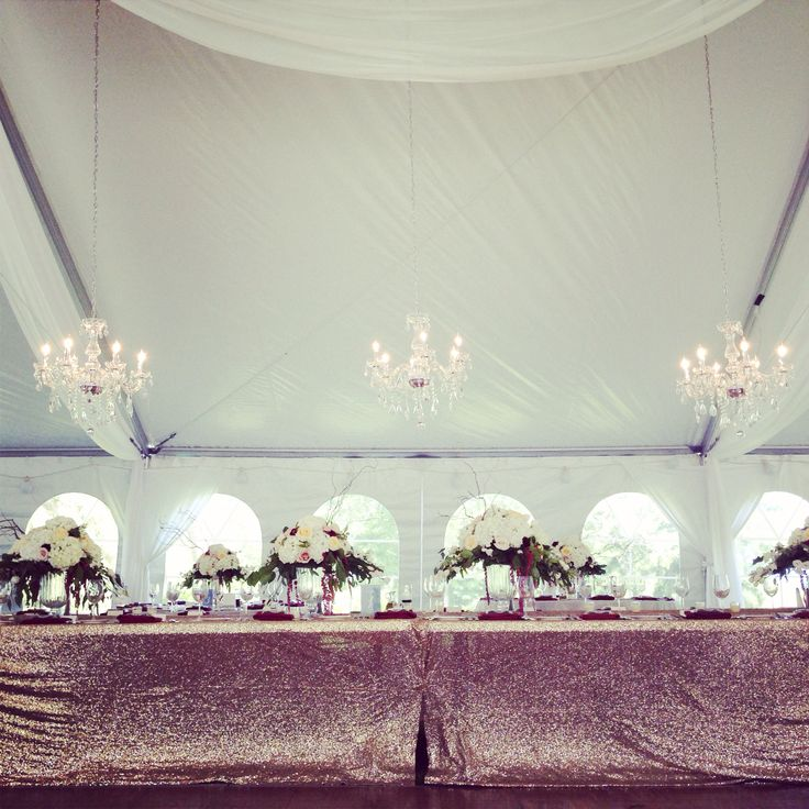 Sparkle champagne linens & crystal chandeliers