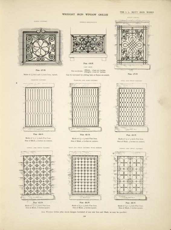 Wrought iron window grilles. Plates 477-N, 478-N, 479-N, 480-N, 481-N, 482-N, 483-N, 484-N and 485-N.