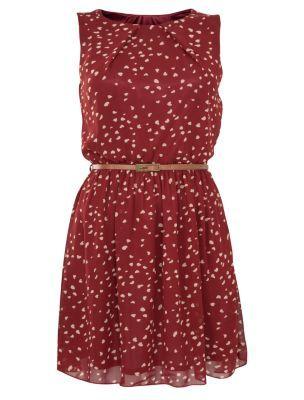 Tenki Red Belted Heart Print Dress