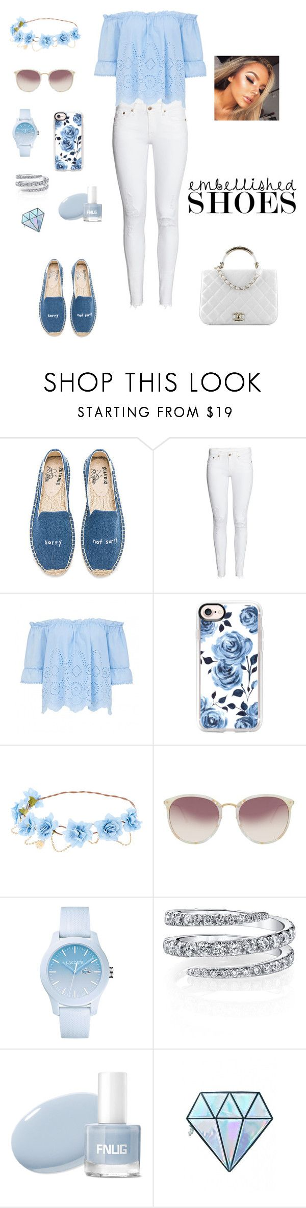 """Untitled #273"" by natalyholly on Polyvore featuring Soludos, Chanel, Casetify, Linda Farrow, Lacoste and Unicorn Lashes"