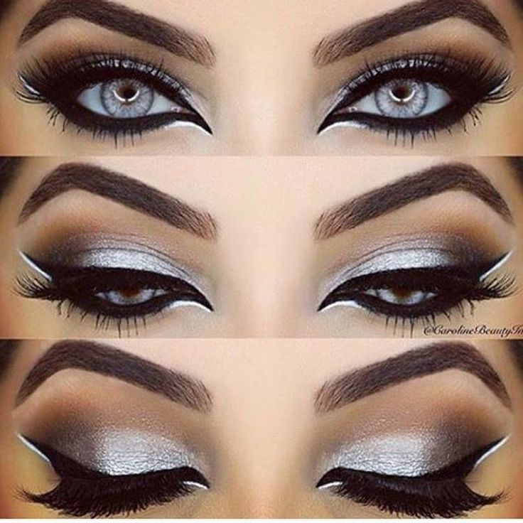 Black and white #double liner with silver shadow Gorgeous cat #eyemakeup ❣@stylexpert ❣