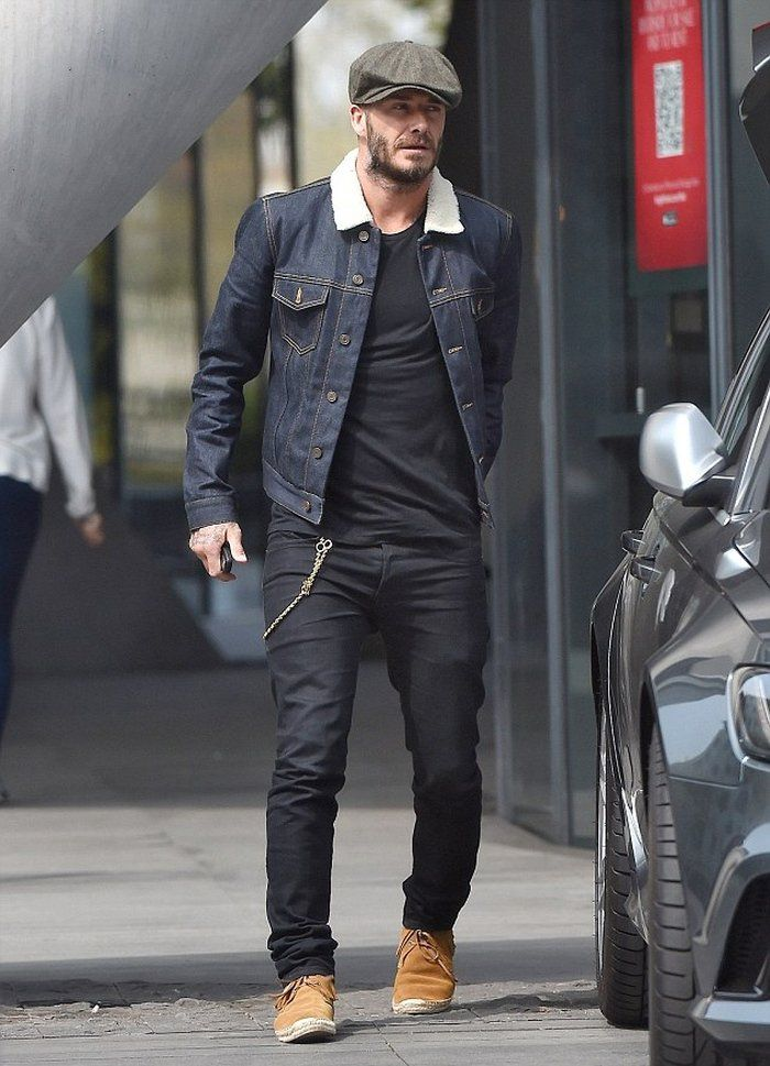David Beckham in a Raw Denim Jacket. David actually sported a great double denim look, pairing a pair of black jeans with a raw and rigid denim jacket.