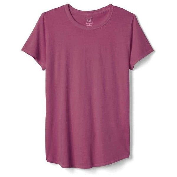 Gap Women Vintage Wash Crewneck Tee ($14) ❤ liked on Polyvore featuring tops, t-shirts, kidney bean, regular, curved hem tee, purple tee, short sleeve crew neck t shirt, crew neck t shirt and relax t shirt
