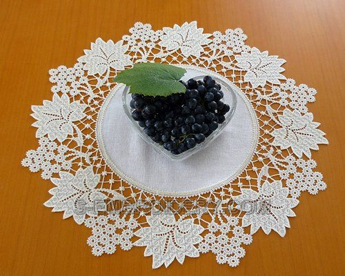 S-Embroidery.  Machine embroidery. Grapes Battenberg lace doily. $15.00. US
