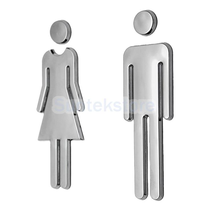 2Pcs Wc Toilet Door Sticker Signs Restroom Washroom Signage Decal Silver
