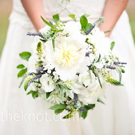 bridal bouquet with peonies, dahlias, lisianthus, and Stars of Bethlehem