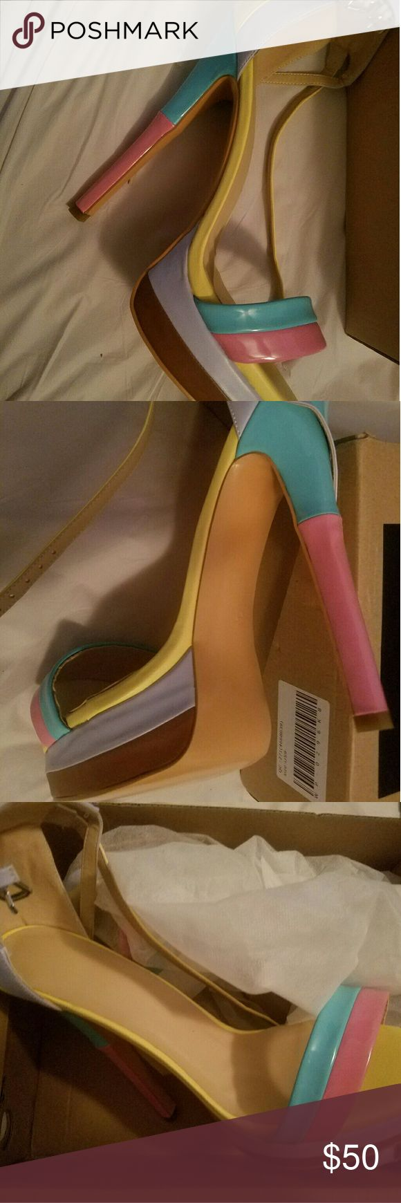 Shoe pie multicolored platform heel open toe shoes Platform heel. Pink, yellow, tan and blue stiletto heels. Never worn. shoe pie Shoes Heels