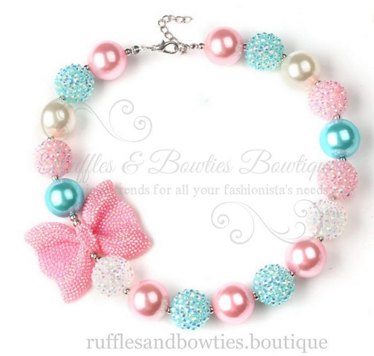 Aqua, Pink and White Bow Bubble Gum Kids/Baby Necklace