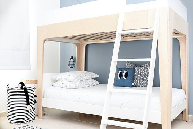 Oeuf perch bunk bed with Ooh Noo bed linen, Jotun paints Arctic grey walls | kids room styling by www.houseofhawkes.com