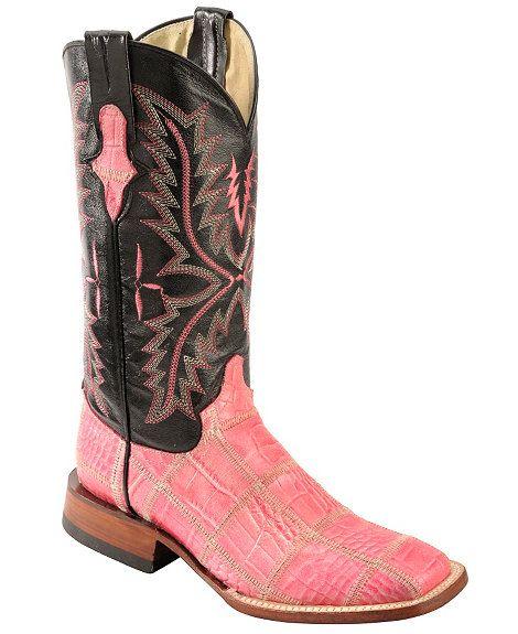 Ferrini Pink Croc Print Patchwork Cowgirl Boots - Wide Square Toe
