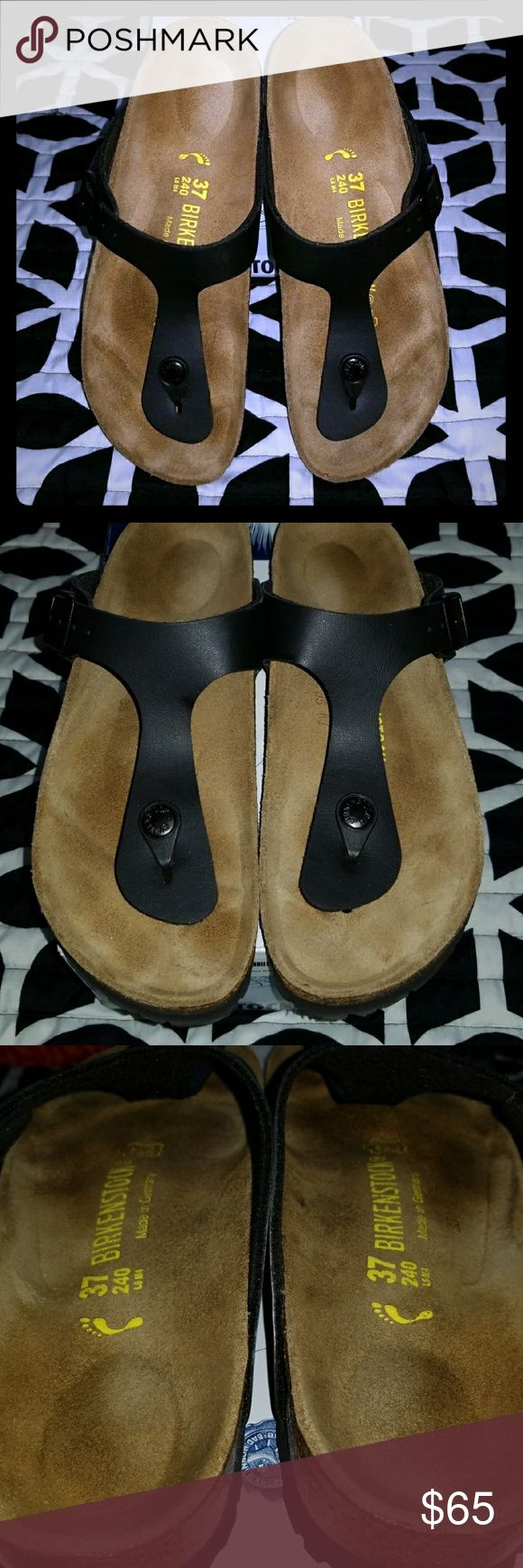 BIRKENSTOCK Gizeh Sandals Practically brand new Gizeh sandals by Birkenstock. These are birko-flor in the color black. Literally worn once, Needs new home! Size 37N-narrow. Birkenstock Shoes Sandals