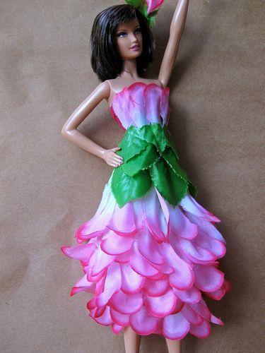 Barbie gowns from silk flowers--hot glue and velcro!