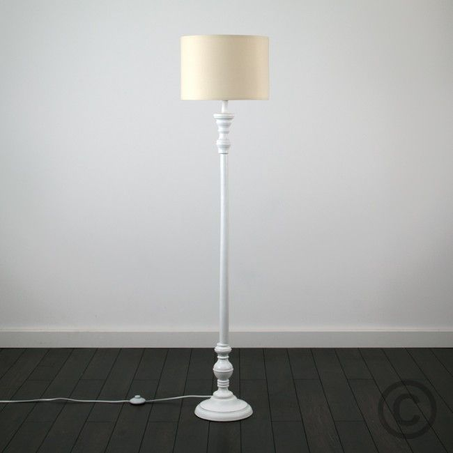 Vintage Large Shabby Chic Wooden Floor Lamp In Distressed