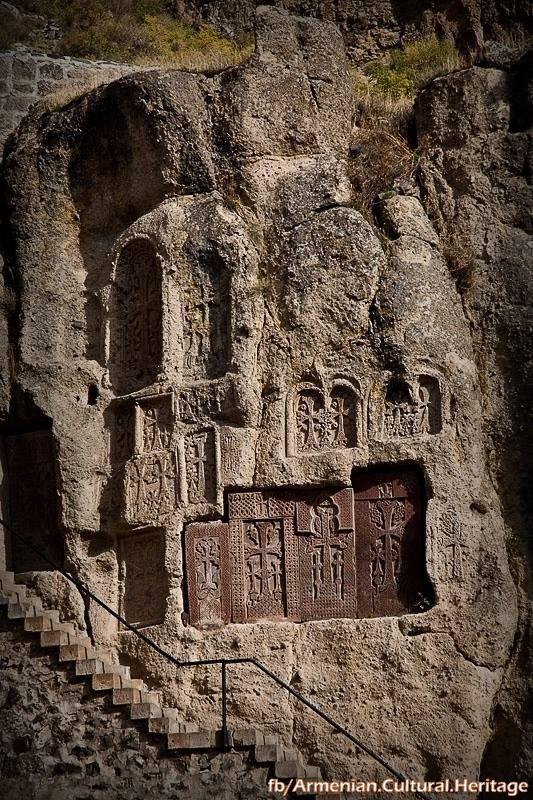 Khachkars at Geghard Monastery in Armenia,  UNESCO World Heritage Site.