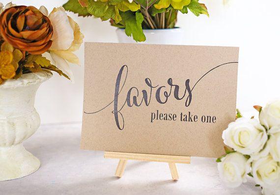 Favor Table Sign, Wedding Favor Sign, Party Favor, Bridal Shower Decoration, Rustic Reception Signage - Size 5 x 7 (CAN - SIGN)