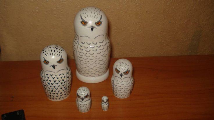 Set of 5pc hand painted wooden russian matryoshka nesting dolls SNOWY OWLS by Matreshkas on Etsy