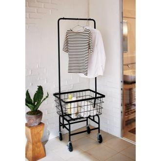 ランドリー収納のアクセントになるおしゃれなカートハンガー。バスケットは洗濯カゴ、ハンガーは物干しとしてお使いいただけます。帰宅時のコートハンガーとしてもおすすめです。