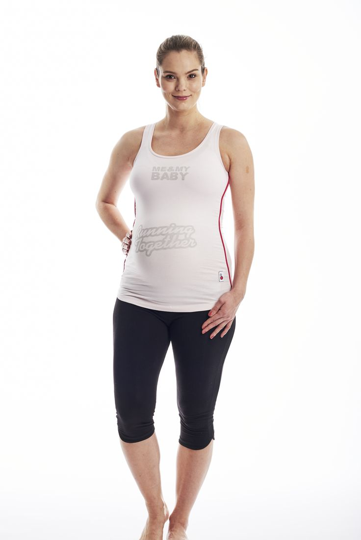 FittaMamma Running Together Pregnancy Exercise Top  Inspiring maternity workout clothes! Show the world you are proud of enjoying a fit pregnancy with the Running Together maternity activewear top!