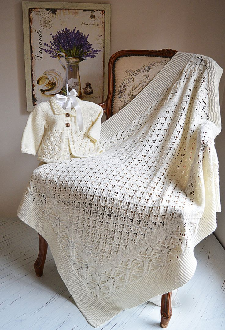 Knitting Pattern Lace And Diamond Heirloom Blanket And