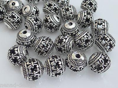 6 Metallperlen KUGEL 10mm hohl antik silberfarbig Perlen nenad-design AN281