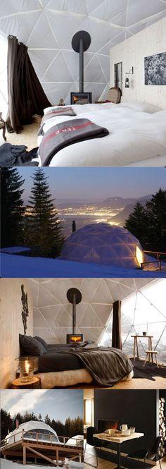 Le WhitePod Resort, dans les Alpes Suisses. Des chambres igloo très design.