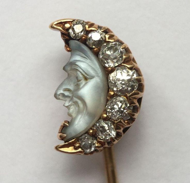 Antique 14K Carved Moonstone Diamond Man in the Moon Stick pin from elliesjewels on Ruby Lane