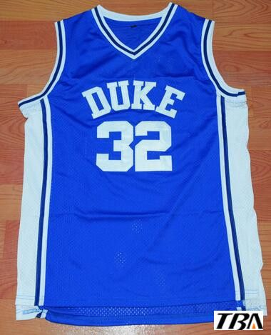 TBA Throwback Basketball Stitched Jerseys  32 DUKE Basketball Jersey Christian Laettner Blue Cheap jersey Free Shipping #Affiliate