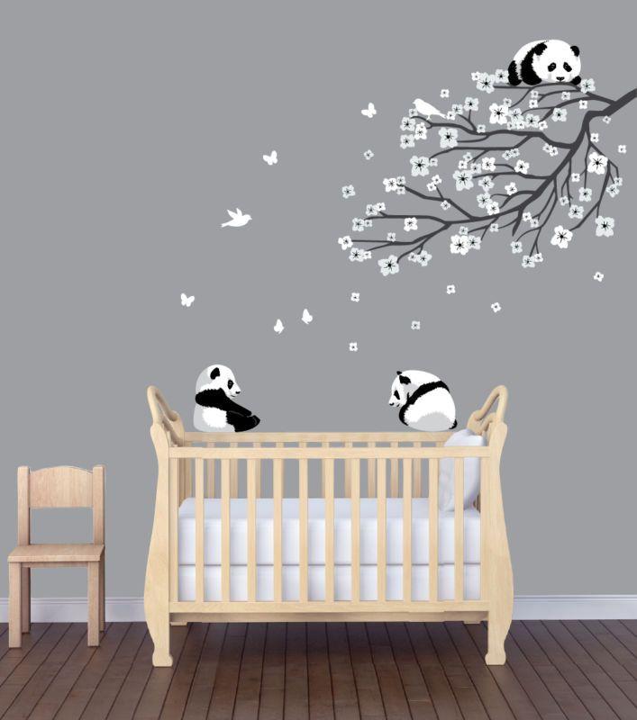 Flower Branch Panda Nursery Sticker, Animal Wall Art, Flower Wall Decor,  Panda Part 77