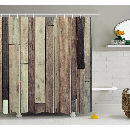 Free Shipping. Buy Wooden Shower Curtain, Antique Planks Flooring Wall Picture American Style Western Rustic Panel Graphic Print, Fabric Bathroom Set with Hooks, 69W X 70L Inches, Brown, by Ambesonne at Walmart.com