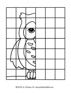 Owl Mirror Image - early elementary practice. (I want to go back and check out this whole board that I pinned this from..good resources)