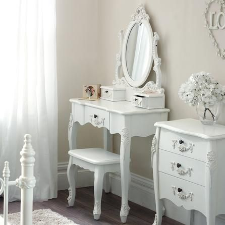 Toulouse White Dressing Table and stool.£149.99.Love the shabby chic feel!