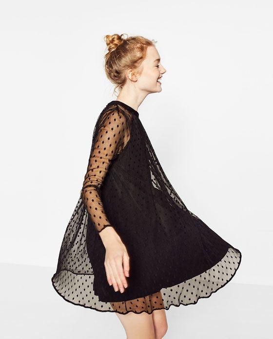 Image 3 de ROBE EN TULLE ET PLUMETIS de Zara