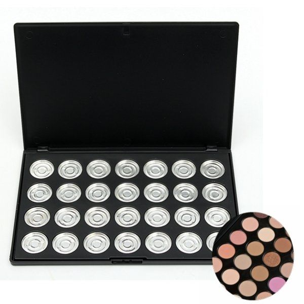 Item Type:   Empty Eyeshadow Palette   Empty Pan Material: Aluminum Size:   As S  hown In P  icture     Quantity: 1Pcs   Package Included:  1 X Empty Eyeshadow Palette      Notes:  1. Please allow slight deviation for the measurement data and make sure you do not mind before ordering.    2. The real color of the item may be slightly different from the pictures shown on website c  aused by many factors such as brightness of your monitor and light brightness.