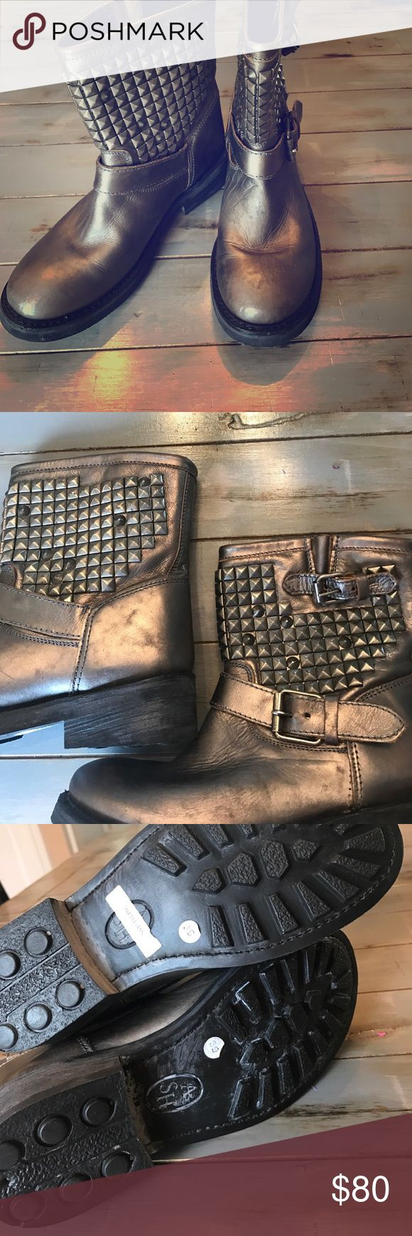 Ash Boots NWOT Ash boots! Bronze kinda color with studs around top! I love these but they are way too small! They're sized a 39 (9) but are def more like an 8!!! Ash Shoes Combat & Moto Boots