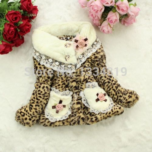 14.54$  Watch here - http://aliumg.shopchina.info/go.php?t=32612377326 - Pretty Girls Kids Baby Toddler Fur Hairy Leopard Winter Pocket Lace Coat Jacket 14.54$ #buyonlinewebsite