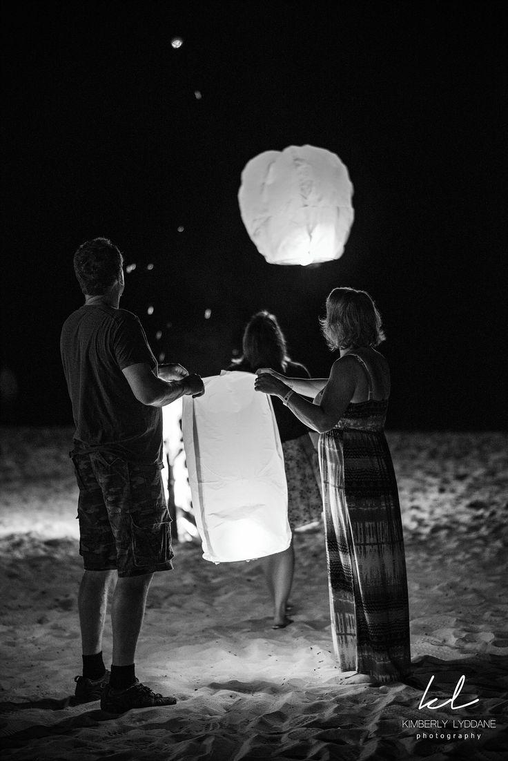 Beach bon fire with chinese lanterns Rehersal