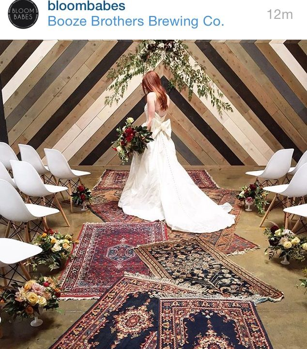 Unconventional Wedding Altar: Love The Idea Of Overlapping Rugs Of Different Patterns