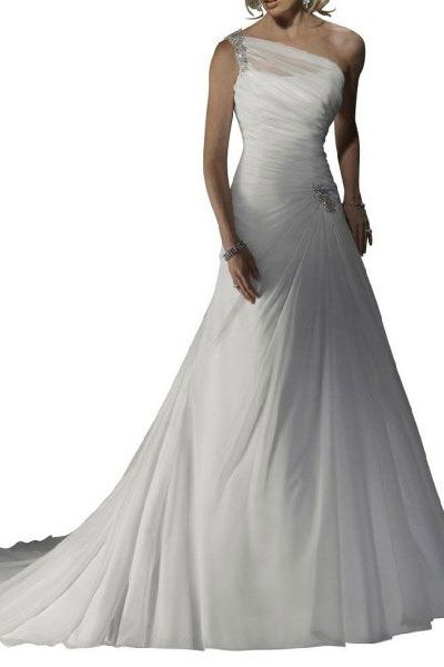one shoulder wedding dress.  Not crazy about the neckline, but love the rest.