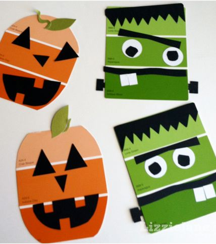 Get some orange and green paint samples from the hardware store! Cut and add on eyes, mouth, etc to create cute Halloween crafts!