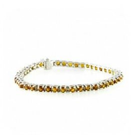 Citrine Princess Cut Tennis Bracelet In 14k White Gold
