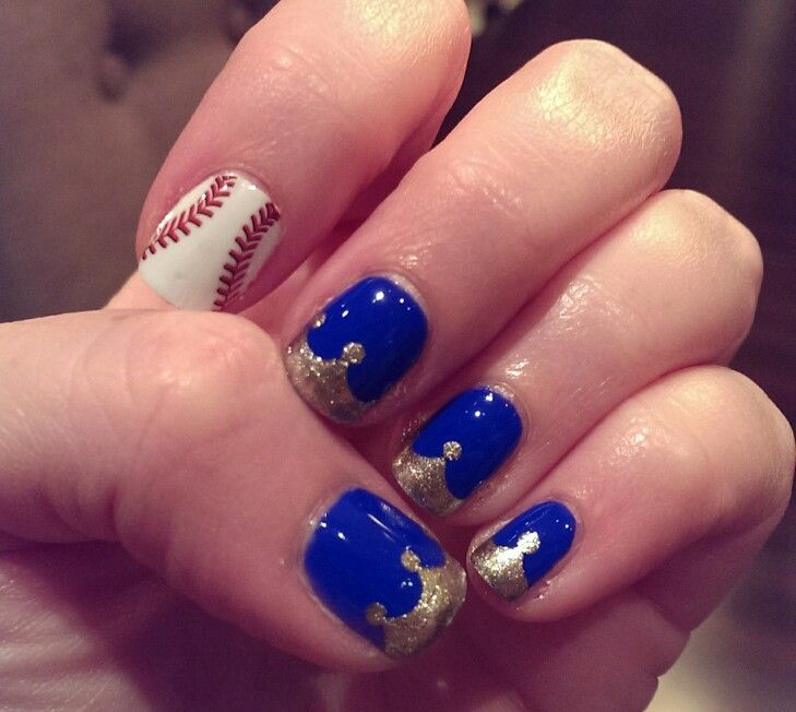 KC Royals nails! Jamberry baseball, royal blue base, gold shimmer applied using tape cut with scalloped scissors and dotting tool.