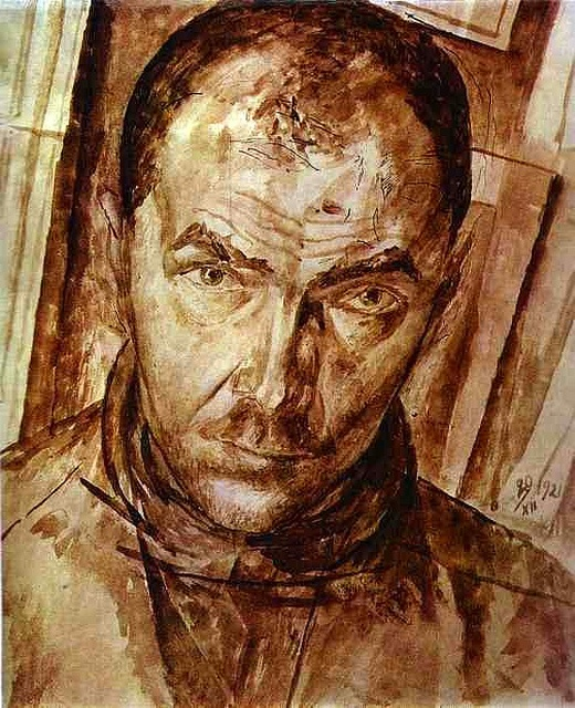 Petrov-Vodkin, Kuzma (1878-1939) - 1921 Self-Portrait (Private Collection)  Brown ink on paper; 35 x 22 cm.  Kuzma Petrov-Vodkin was born in Khvalynsk into the family of a local shoemaker. His first exposure to art was in his early childhood, when he took some lessons from icon painters and a signmaker. Studied art at Saint Petersburg.