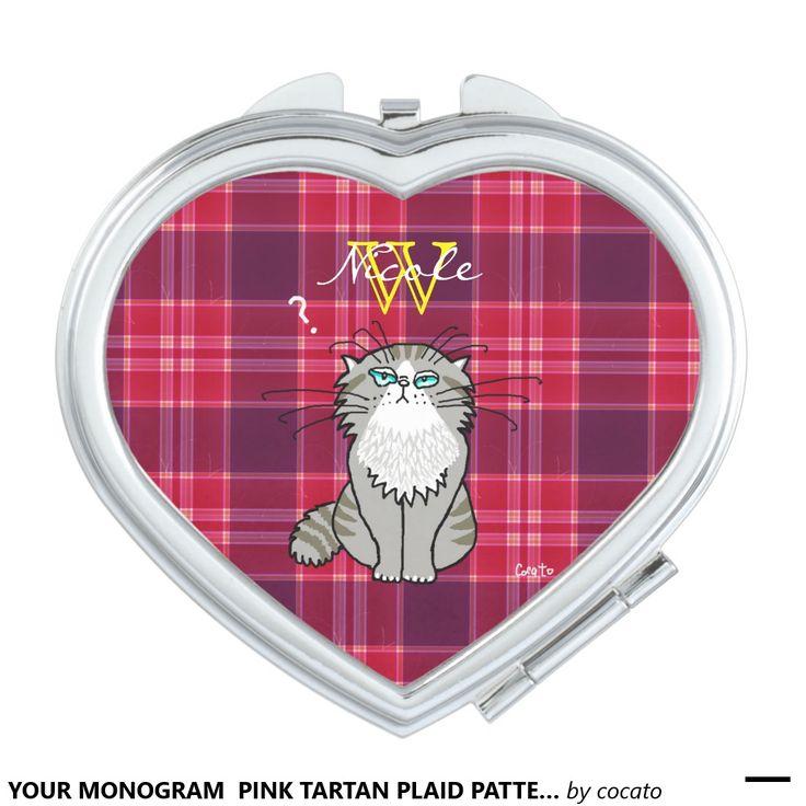 YOUR MONOGRAM  PINK TARTAN PLAID PATTERN AND CAT.