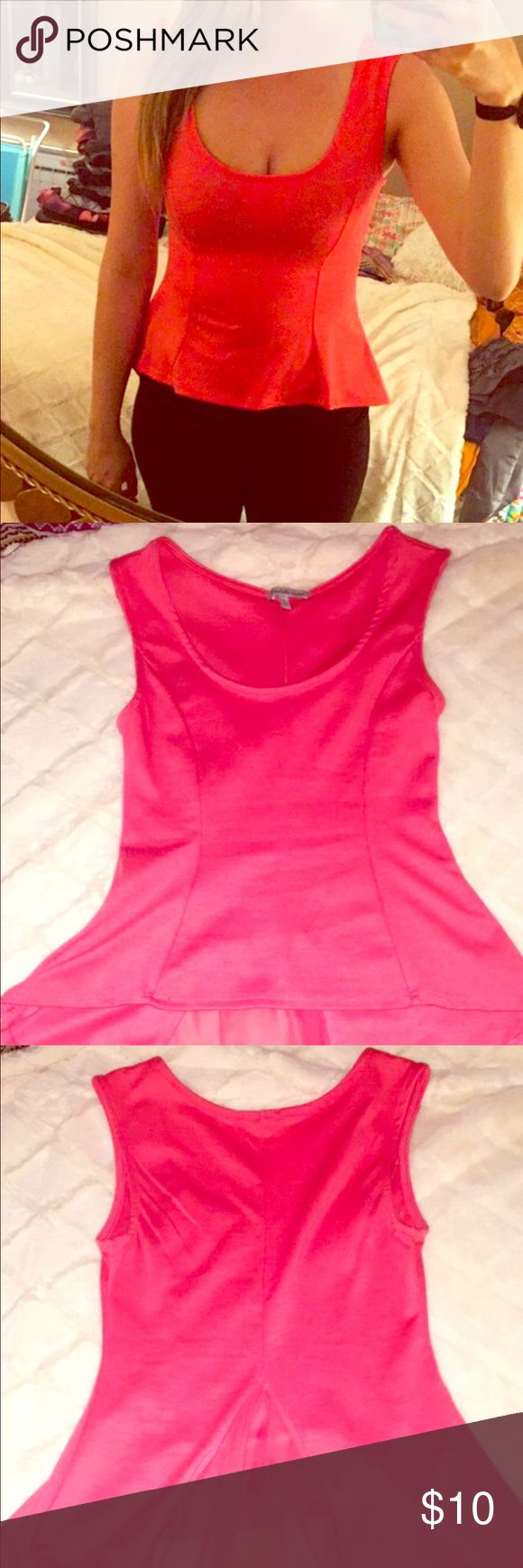 Pink Peplum Top Super cute top! Worn once to an interview. Can be dressed up or dressed down. No flaws! Charlotte Russe Tops Tank Tops