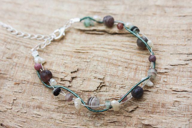 Quartz, Tourmaline, Pearl, Shell and Silk Twist Bracelet £16.00