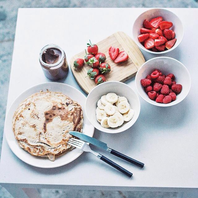 Crepes with Nutella and berries strawberry raspberry
