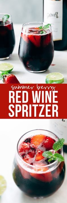 Summer Berry Red Wine Spritzer | Wine Cocktail Recipe | Strawberry, Blackberry, Blueberries | Low Calorie | Easy Drink | With Sprite and Lemonade | Brunch Cocktail Ideas via @my_foodstory