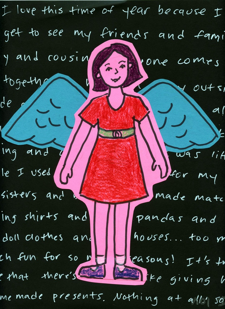 Art Projects for Kids: Angel Self Portraits You can also do this project without the wings as a self-portrait. I really like the words in the background, they can be a story, biography, or words about themselves.